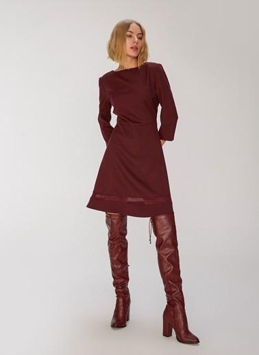 People By Fabrika Bant Detaylı Elbise Mor
